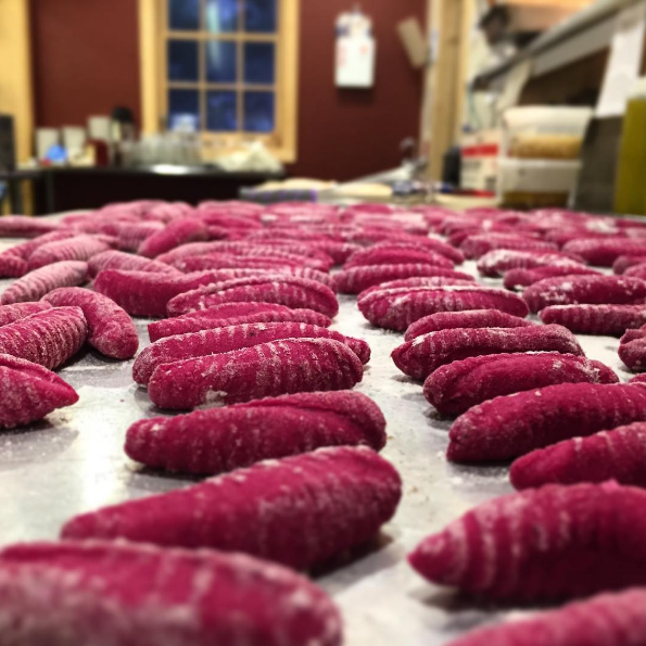 beet-cavatelli at Turpin Meadow Ranch