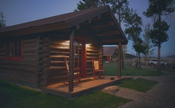 Cabin at Night at Turpin Meadow Ranch
