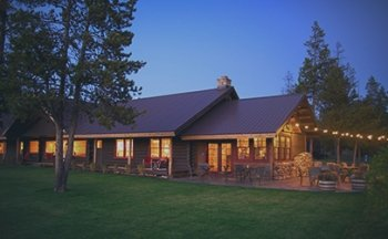 The lodge at night at Turpin Meadow Ranch